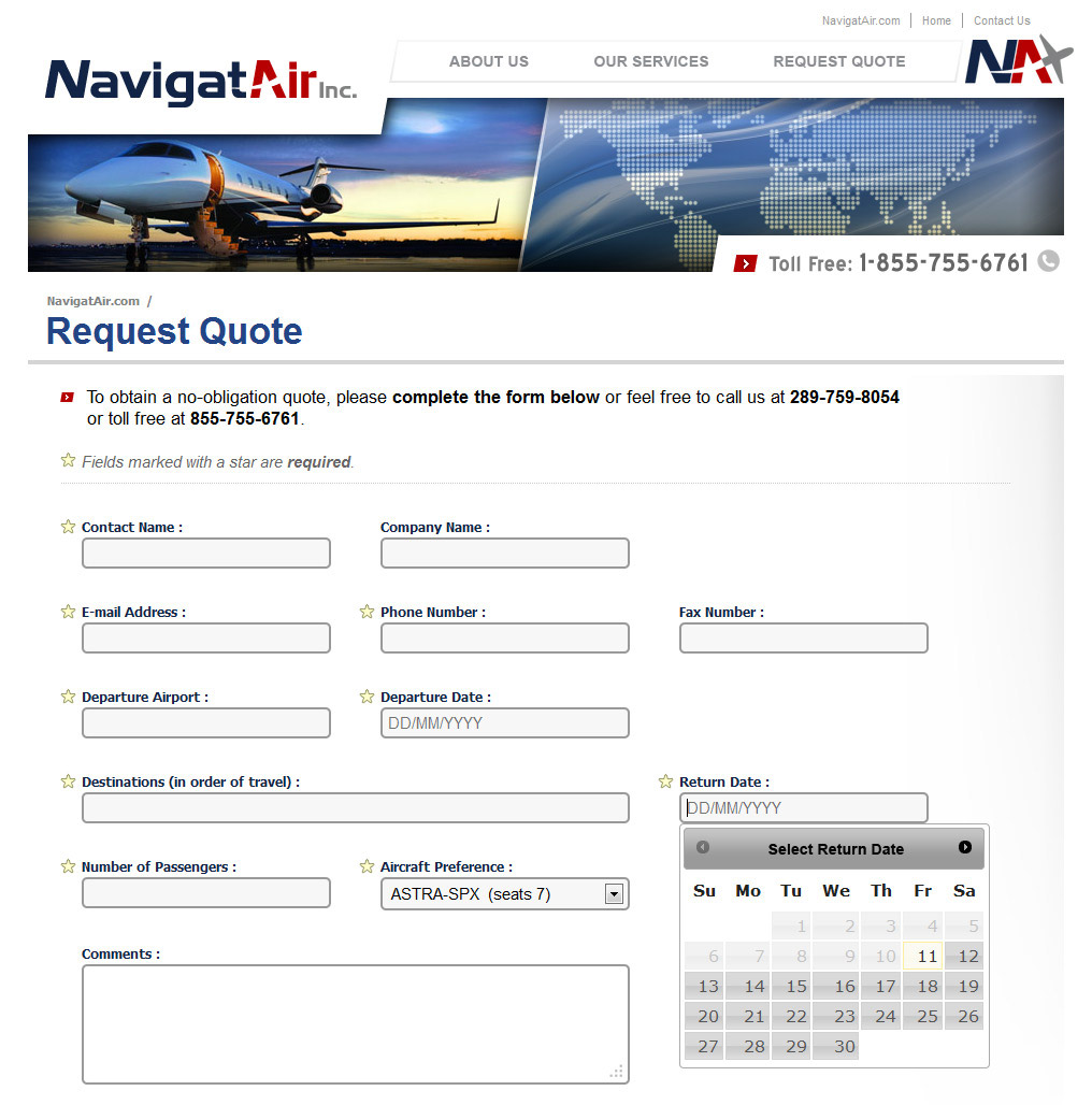 NavigatAir Website - Request a Quote