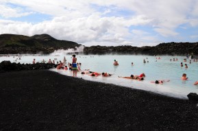 Black sand at the Blue Lagoon