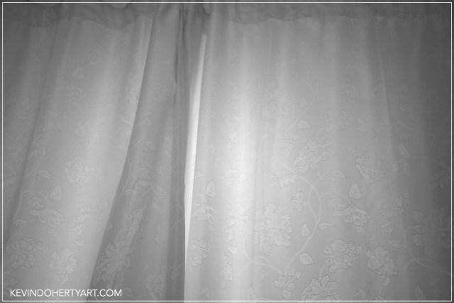 closed curtains.