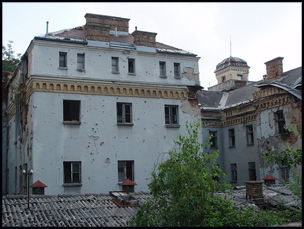 scarred building
