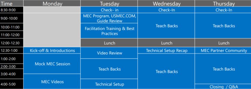 MEC Facilitator Schedule