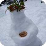 picture of a snowman bird feeder
