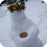 picture of a snowman bird feeder