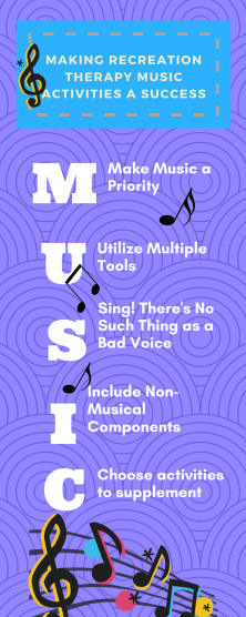 recreation therapy music ideas infographic
