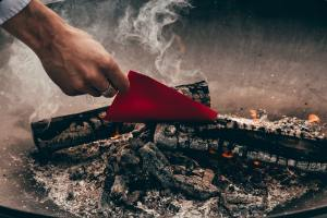 image of paper burning in a fire