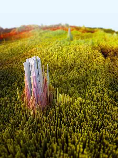Monolith in green field, from -scapes by Kevin Halfhill