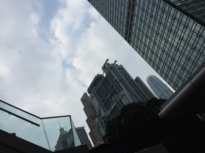 In the backdrop is the iconic design the HSBC - Hong Kong Shanghai Bank also the second tallest building in Hong Kong the IFC building tower -412 meters tall..