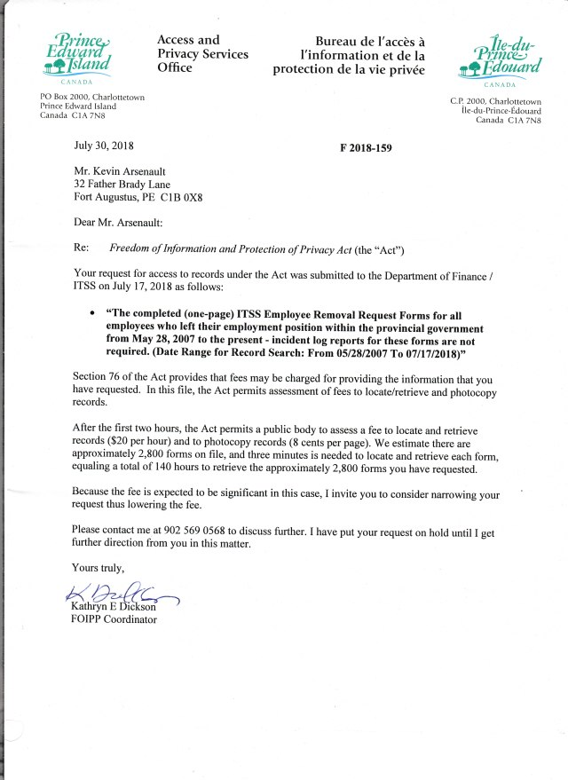 Access Letter on Cost of all Employee Removal Forms 001