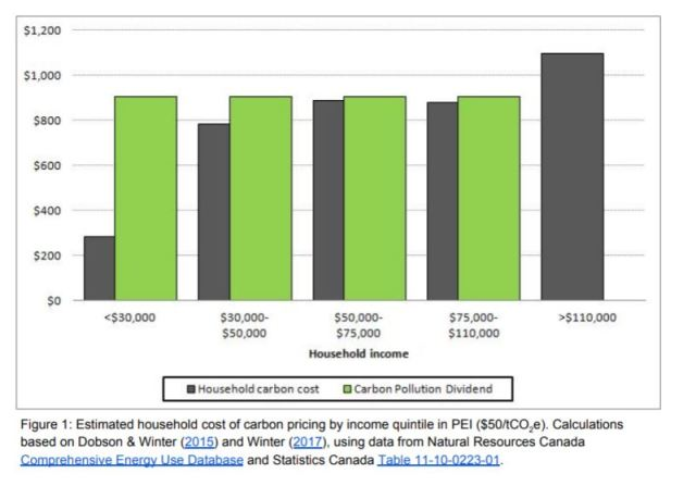 Green Party Carbon Use and Dividend Chart