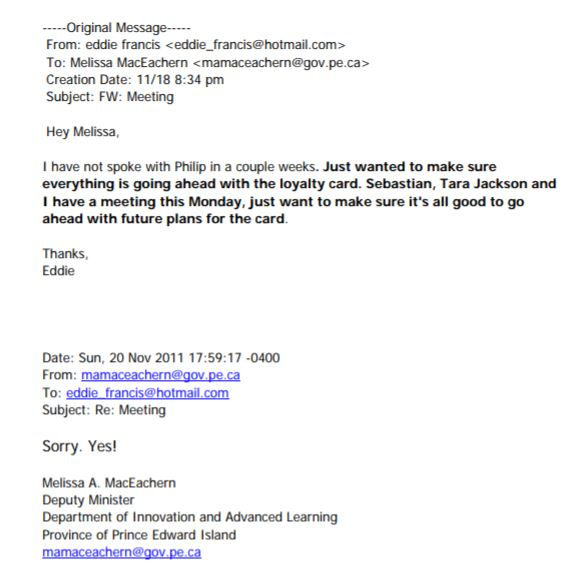 Loyalty Card Email Exchange between Eddie Francis and Melissa MacEachern