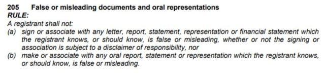False or Misleading Statements