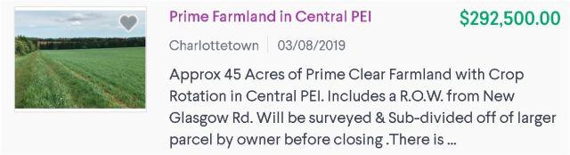 Prime Farmland in Central PEI