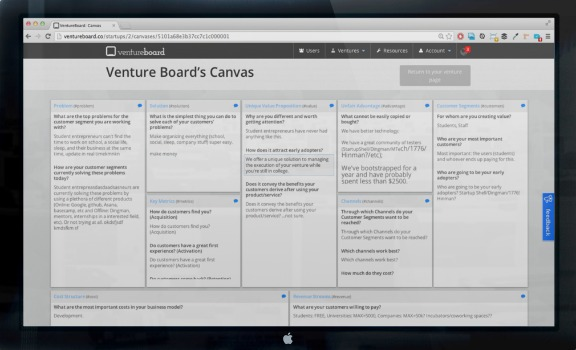Business Model Canvas in VentureBoard