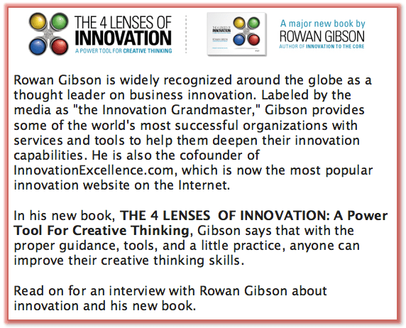 About Rowan Gibson Author of The Four Lenses of Innovation