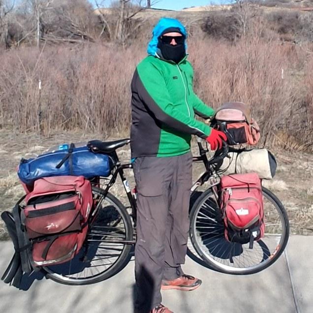 Kevin Koski bundled up against the cold wind