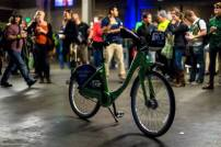 People admire the bike at the Pronto Launch Party.