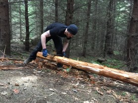 Trevor is debarking stringers on Evolution stump drop.