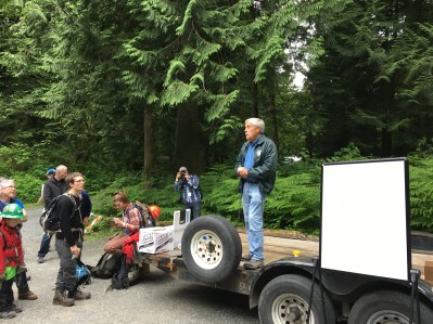 Whatcom County Parks Director, Mike McFarlane, kicked off the opening ceremony and discusses the process of turning this area into a park.