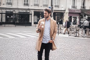 man with starbucks paris
