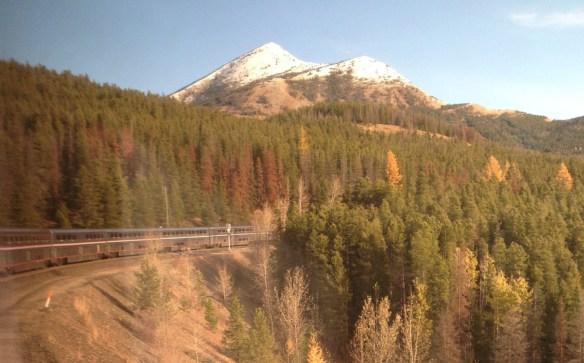 Amtrak's Empire Builder streams over Marias Pass near Glacier National Park. I took this photo from my passenger car.