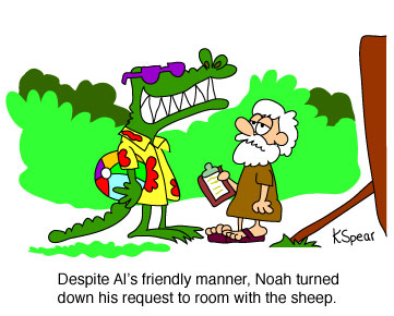 Cartoon of an alligator and Noah