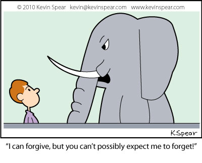 Cartoon of a man and elephant about forgiving and forgetting