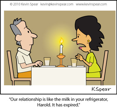 Cartoon of couple at a candlelight dinner