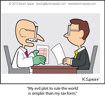 Cartoon of mad scientist and accountant