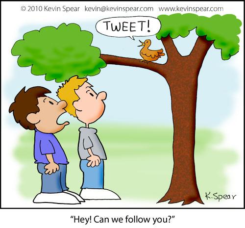 Cartoon of two boys and tweeting bird