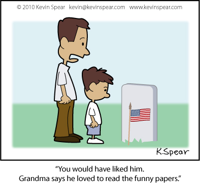 Cartoon of dad and son at grave site: Memorial Day