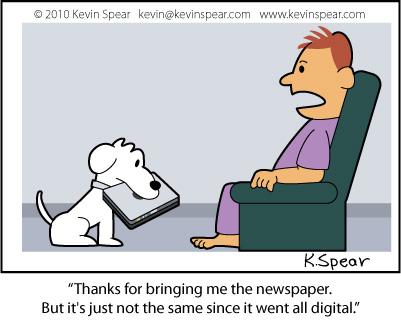 Cartoon of a dog retrieving a laptop
