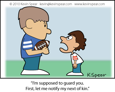 Cartoon of two football-playing boys