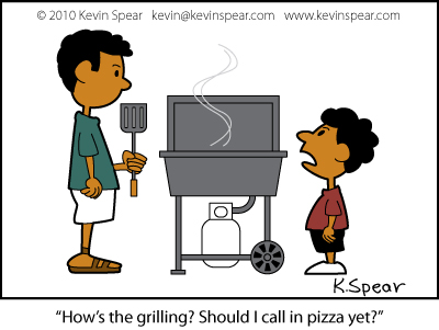 Cartoon of a dad at a gas grill