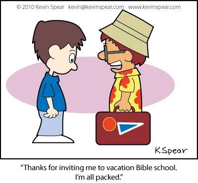 Cartoon of a boy packed for vacation Bible school