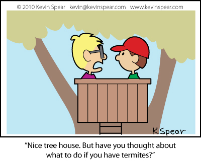 Cartoon of two boys in a tree house