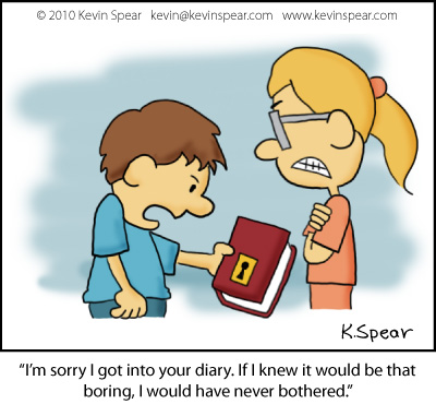 Cartoon of a brother handing a diary to his sister