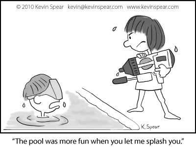 Cartoon of boy in pool and a girl