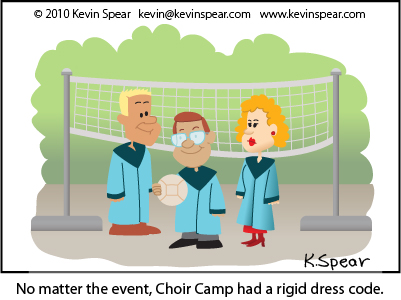 Cartoon of three volleyball players in choir robes