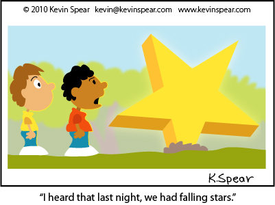 Cartoon of two boys staring at a star