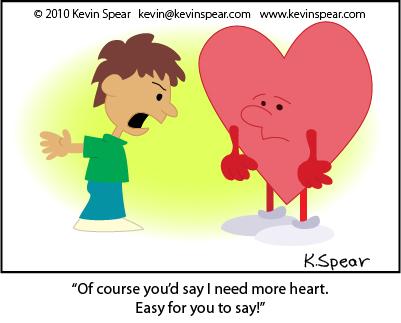 Cartoon of a boy and a heart-shaped figure