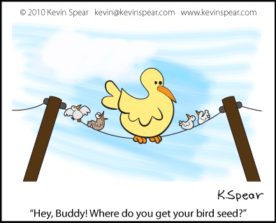 Cartoon of birds on a wire