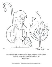 Coloring Page: Moses and the Burning Bush | Kevin H. Spear