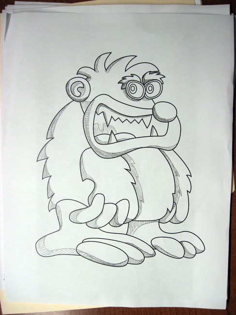 Monster sketch with shading specs
