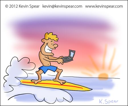 Illustration of a guy on a surfboard. He is using a laptop.