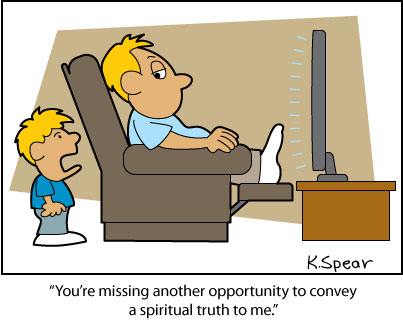 Cartoon of a boy talking to his TV watching dad about spirituality
