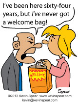 Cartoon of a man wishing he had gotten a welcome bag