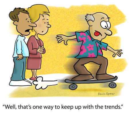 cartoon of two people watching an older man speed by on a skateboard