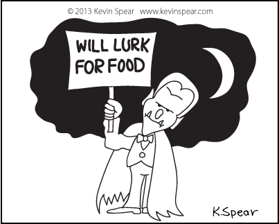 Cartoon of a vampire with a will lurk for food sign