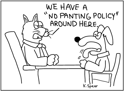 Cartoon of a cat executive and a dog employee