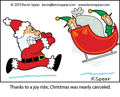 Cartoon of Santa chasing his runaway sleigh
